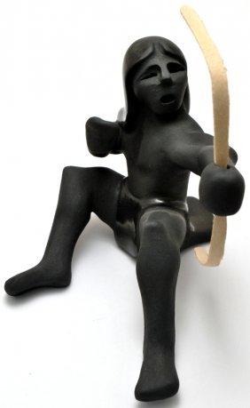 Santa Clara Black Pottery Doll With Bow - Gary Gutierre