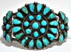Old Pawn Turquoise Needlepoint Sterling Silver Cuff Bra