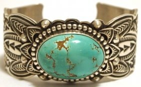 Old Pawn Navajo Smiths Turquoise Sterling Silver Cuff B