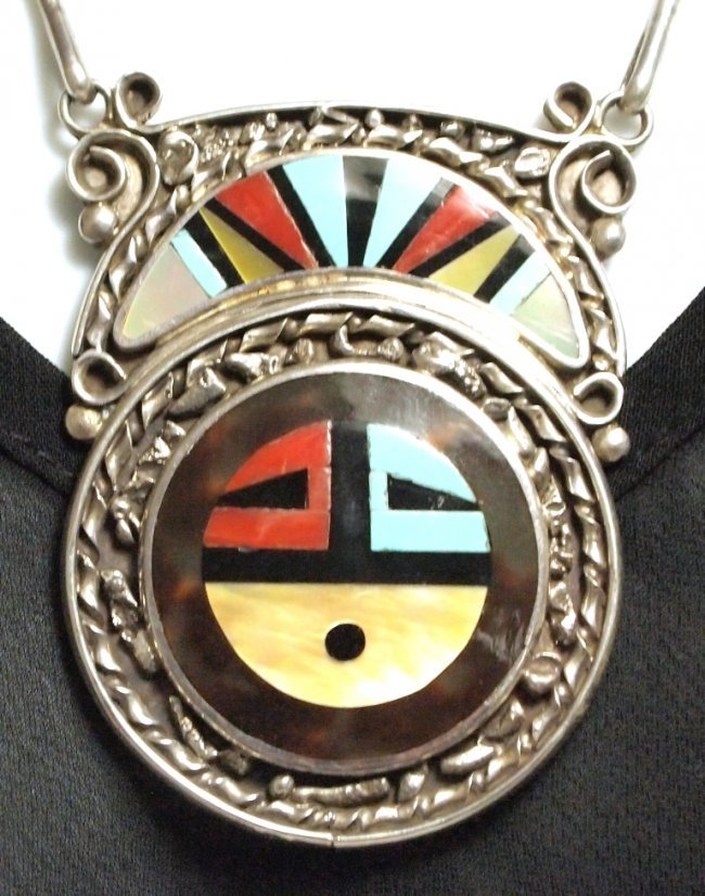 Zuni Mother Of Pearl With Multi Stone Inlay Around Ring