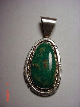 SIGNED NAVAJO STERLING TURQUOISE PENDANT