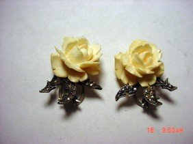 VINTAGE IVORY STERLING MARCASITE EARRINGS