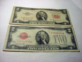 1928 G $2 BANKNOTE & 1953 A $2 BANKNOTE