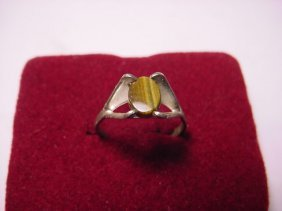 MODERNIST STERLING TIGERS EYE RING SIZE 8