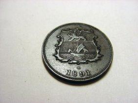 1891 BRITISH NORTH BORNEO [MALAYSIA] HALF CENT