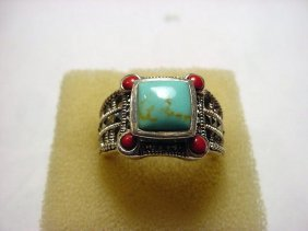 STERLING TURQUOISE CORAL RING SIZE 10