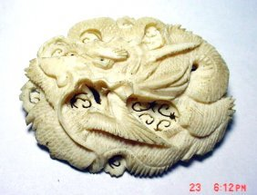 VINTAGE SIGNED CHINESE CARVED IVORY DRAGON PIN