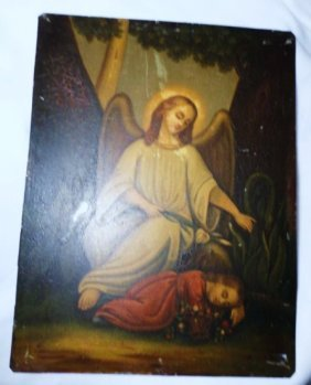 VINTAGE  ANGEL PAINTING ON TIN