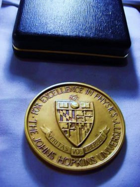 JOHNS HOPKINS UNIVERSITY BRONZE MEDAL FOR PHYSICS