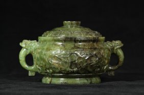 Spinach Jade Carved Cistern With Lid