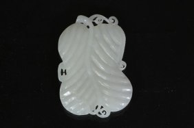 Carved White Jade Of Leaf Gourd Shaped Pendant