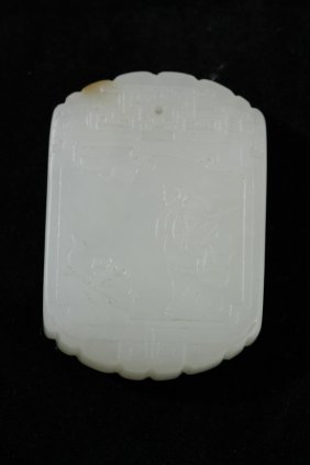 Nephrite White Jade Plaque Of An Official