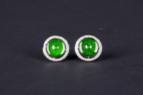 Pair Of Natural Green Jadeite Jade Studs, Gia