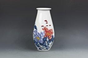 Flower Famille Rose Porcelain Vase
