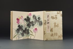 Chinese Painting Album With Silk Covers