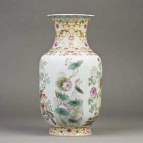 A Large Famille Rose Porcelain Rouleau Vase