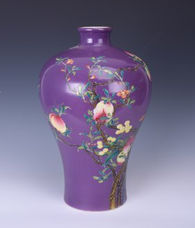 Chinese Enameled Porcelain 'meiping' Vase