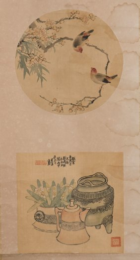 A Chinese Scroll Consist Of Two Paintings