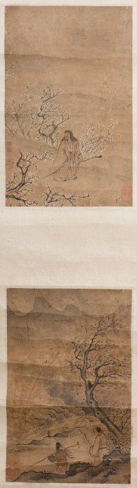 A Chinese Scroll Of Two Figural Paintings