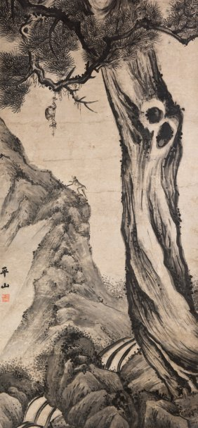 A Scroll Painting Of A Pine Tree