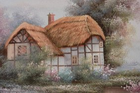 An Oil Painting Of Cottage Motif
