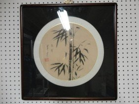 Chinese School Framed Bamboo Painting