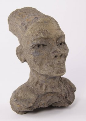 Pre-columbian Male Bust Made From A Clay Stone Mortar