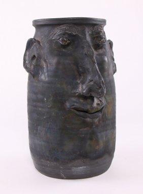"""Face Jug Stoneware Pottery Signed """"rodney Wit...?""""."""