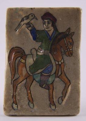 Rare And Beautiful Persian Qajar Art Tile Decorated In