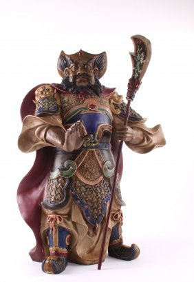 Chinese General Guan Gong Warrior Deity Polychrome