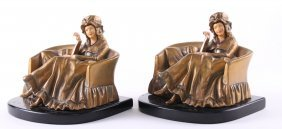 Heavy Antique Bronze Bookends Of A Seated Woman
