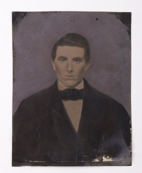 Large Antique Tin Type Of A Gentleman. A Tintype, Also