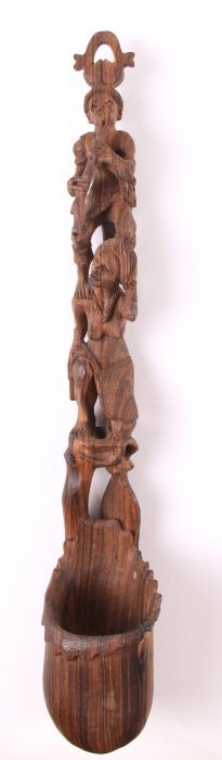 Southeast Asian Wood Carved Totum Pole Spoon. Size: