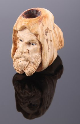 Antique Meerschaum Pipe Of A Bearded Man With Glass