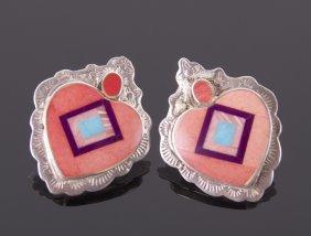Native American Sterling Silver Heart Shaped Earrings