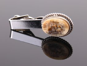 Nautical Whaler Scrimshaw Tie Clip. Size: See Attached