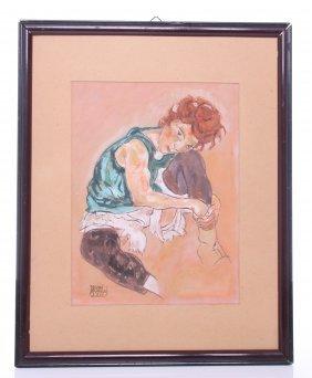 Egon Schiele (1890-1918) Original Gouache Painting Beli
