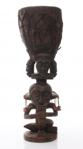Antique Wood Carved African Yoruba Tribal Drum. Size: