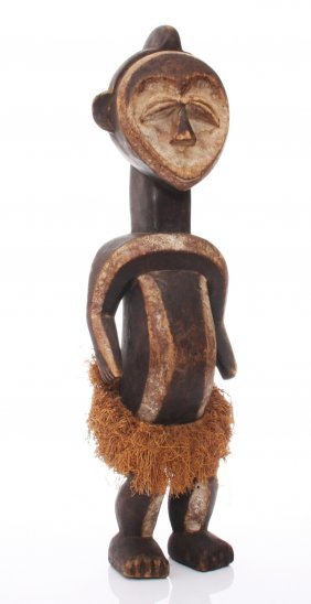Early 20th Century, African Lega Tribe Wood Carved Powe