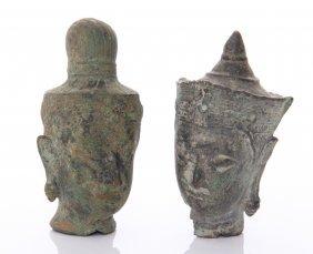 Two(2) Thai Temple Bronze Buddha Heads. Circa 19th Cent