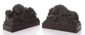 Bronze Lion Monument Bookends. From The Lucerne In Swit