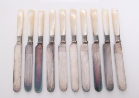 Antique Silver Knives With Mother Of Pearl Handles And