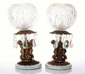 Two(2) Vintage Globe Lamps With Cherubs And A Marble Ba