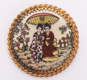 Antique Asian Hand Painted Brooch. Size: See Attached