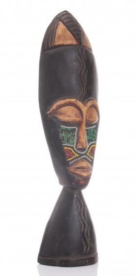 Vintage African Wood Carving With Bead Work. Size: See