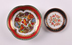 "Two Small Painted Austrian Enamel Plates. ""hand Painte"