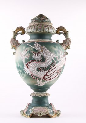 Japanese Satsuma Dragon Floor Vase Pottery Lamp Convers