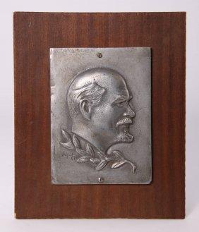 Titanium Plaque Of Vladimir Lenin, With Original Russia
