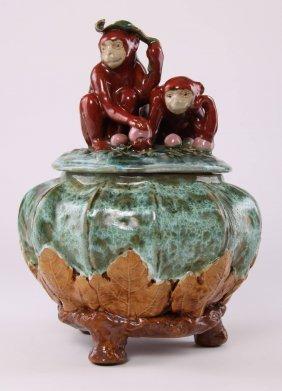 Cookie Jar Depicting Two Playful Monkeys Holding Fruit