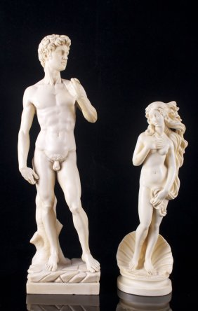 Two (2) Amilcare Santini Composite Sculptures Signed By